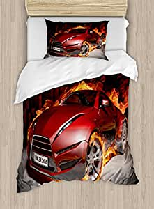 Ambesonne Cars Duvet Cover Set Twin Size, Red Sports Car Burnout Tires in Flames Blazing Engine Hot Fire Smoke Automobile, Decorative 2 Piece Bedding Set with 1 Pillow Sham, Red Black Orange