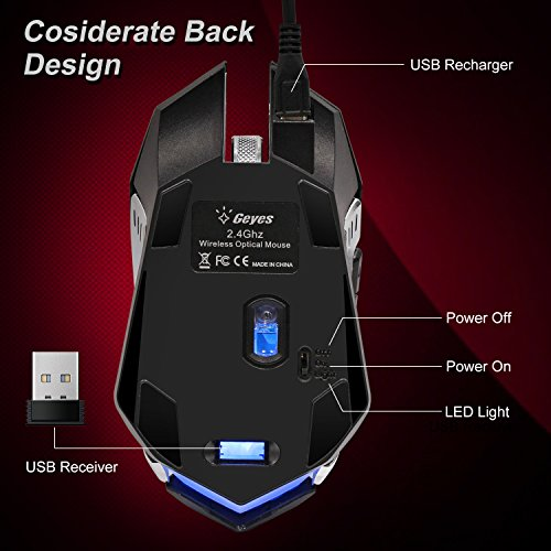 VEGCOO C9s (Updated Version) Wireless Gaming Mouse, Rechargeable Silent Click Mice with Nano Receiver, Changing Breathing Backlit, 3 Adjustable DPI Up to 2400 for Gamer, Laptop, PC, Macbook (Black) by VEGCOO (Image #5)