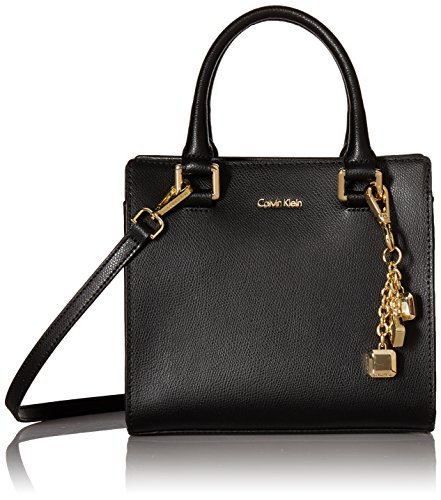 Calvin Klein womens Calvin Klein Logan Mercury Leather Crossbody, black/gold, One Size
