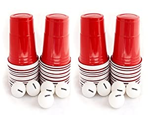 US College Party Beer Pong Partybecher Rot Set mit 120 stück stabilen,...