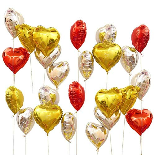 10Pcs 18Inch Pink White Rose Gold Heart Foil Balloons Baby Shower Birthday Helium Globos Wedding Party Love Decoration Supplies Silver Gold Red]()