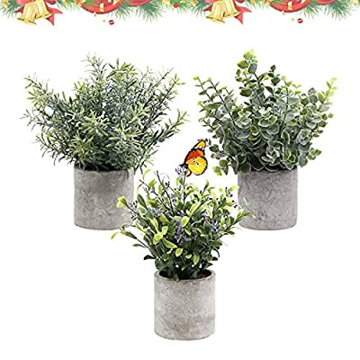 Artificial Plants, Faux Fake Green Plants in Potted Decorations As Gifts for indoor Offices and Family Gardens 3 Packs