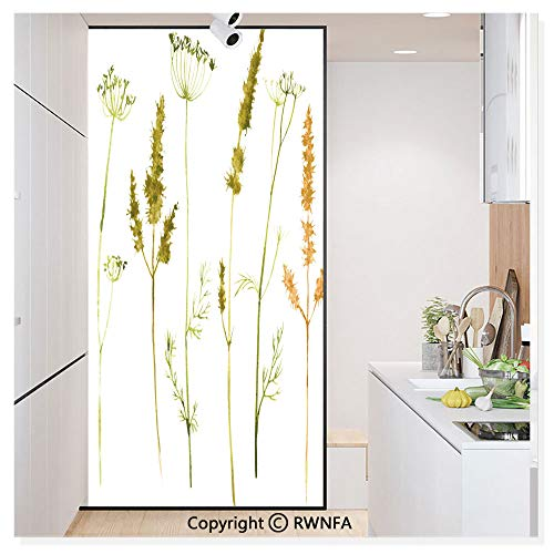 Window Film Door Sticker Glass Film Wild Flowers Herbs and Twigs Wilderness Untamed Plants Ecological Art Both Suitable for Home and Office, 17.7 x 78.7 inch,Vermilion Dark Green