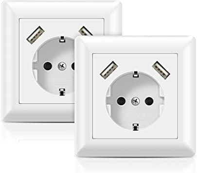 2 X USB Enchufes pared Blanco Toma de Corriente con 2 puertos USB ...