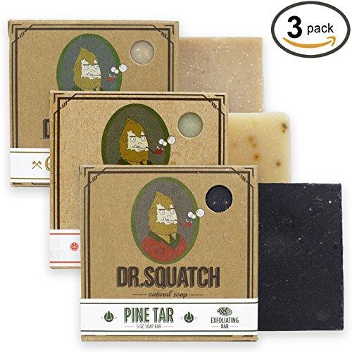 Dr. Squatch Men's Soap Sampler Pack (3 Bars) – Pine Tar, Cedar Citrus, Gold Moss Bars – Natural Manly Scented Soap for Men (3 Bar Bundle Set)
