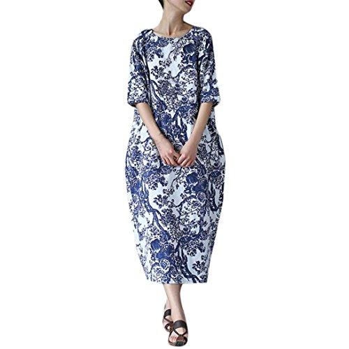 Misaky women dress Plus Size Maxi Dresses Oversized Floral Print Casual Loose Long Dress (3XL, C_Blue) (Dress Maxi Sale)