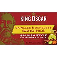 King Oscar Skinless & Boneless Sardines Spanish Style, 4.23 Ounce (Pack of 12)