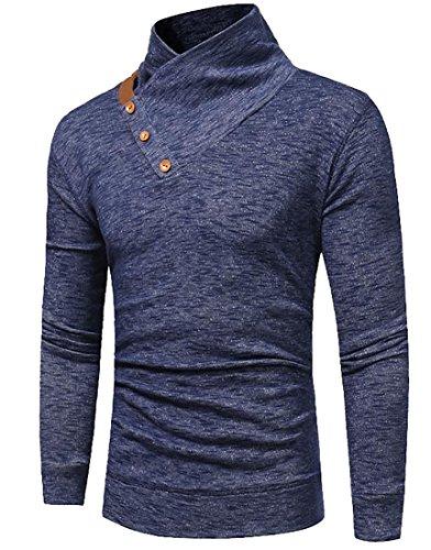 Uomo A Da Collo Camicia Con Navy Tasto Anello Blu Maniche Ad Ttyllmao Il Lunghe 86q5U