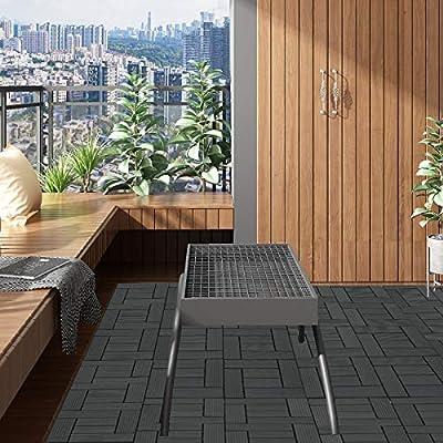 EUGAD 22x Suelo de Exterior WPC 30x30cm Terrazas del Piso 22 Set 2? Baldosas de Madera para Jardin, Terraza Antracita: Amazon.es: Bricolaje y herramientas