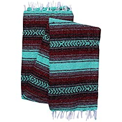El Paso Designs Genuine Mexican Falsa Blanket - Yoga Studio Blanket, Colorful, Soft Woven Serape Imported from Mexico (Burgandy and Mint)