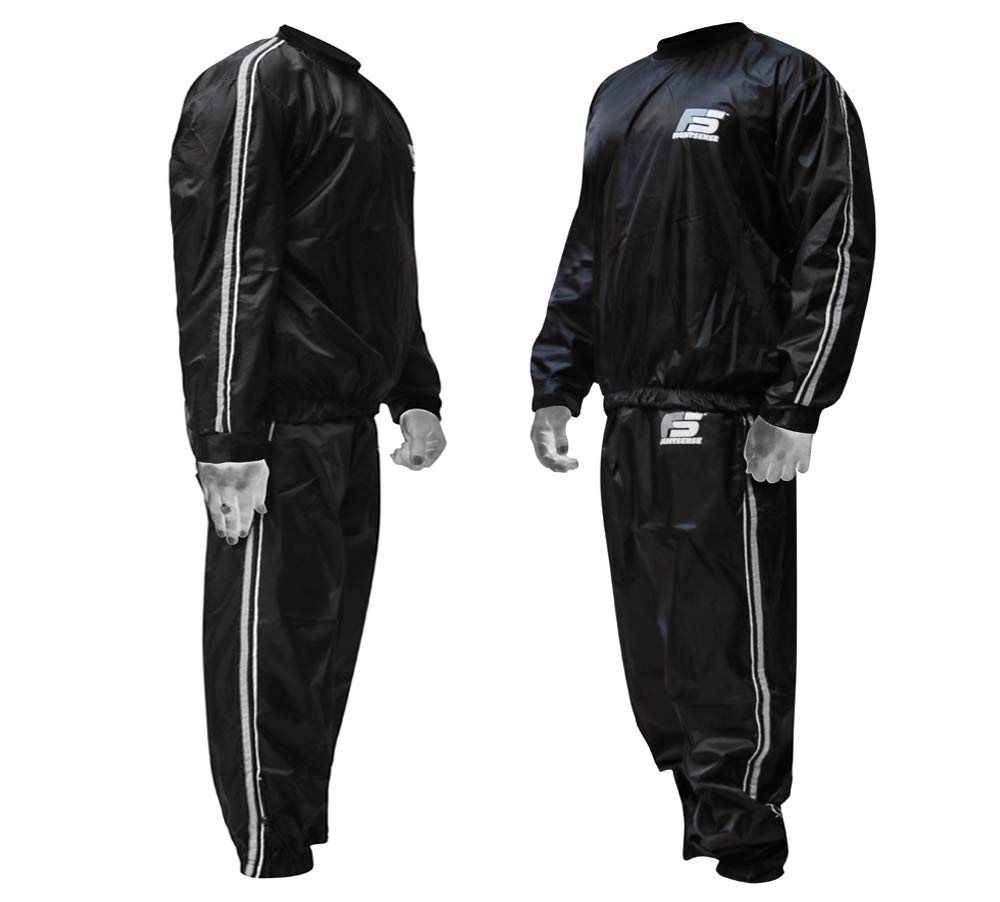 FIGHTSENSE MMA Sauna Sweat Suit Track Weight Loss Slimming Fitness Gym Exercise Training (White, 5XL)