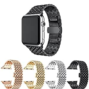 Bands for Apple Watch 42mm, Bands for iWatch 42mm, Carambola Luxury Multiple Chains Stainless Steel Metal Adjustable Replacement Wristband Watch Strap Band For Apple Watch 42mm (black)