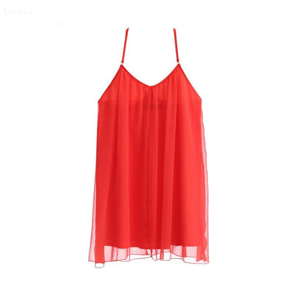 GAODUZI 夏の新しいセクシーなドレスストラップレスホルターソリッドカラースリーピングスカートかわいいファッションの花嫁パジャマ B07DRG992B L l|赤 赤 L l