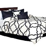 Bedford Home 7 Piece Oversized Trellis Comforter Set - King - Charcoal