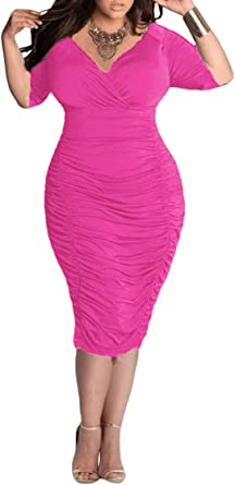 Pink Queen Womens Plus Size Deep V Neck Wrap Ruched Waisted Bodycon Dress