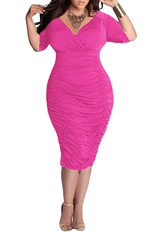 Amazon Pink Queen Womens Plus Size Deep V Neck Wrap Ruched