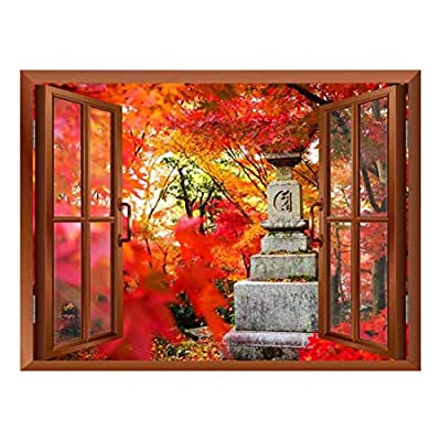 Magnificent Print, Copper Window Looking Out Into a Japanese Statue Surrounded by Red Trees Wall Mural, Made For You