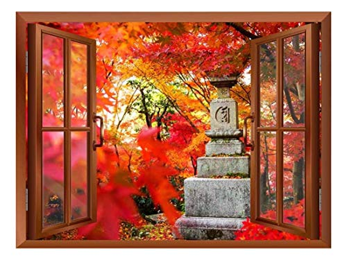 Copper Window Looking Out Into a Japanese Statue Surrounded by Red Trees Wall Mural