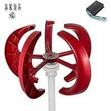 VEVOR Wind Turbine 400W 24V Wind Turbine Generator Red Lantern Vertical Wind Generator 5 Leaves Wind Turbine Kit with Controller (24V)