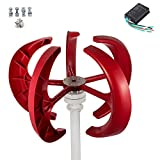 VEVOR Wind Turbine 400W 12V Wind Turbine Generator Red Lantern Vertical Wind Generator 5 Leaves Wind Turbine Kit with Controller (12V)