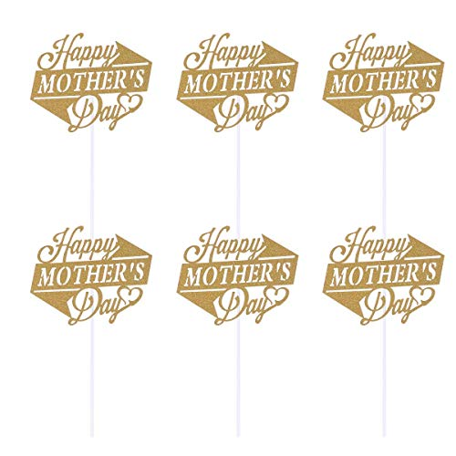 BinaryABC Happy Mother's Day Cake Toppers Cupcake Picks Cake Decoration Party Supplies,10Pcs(Golden Glitter)