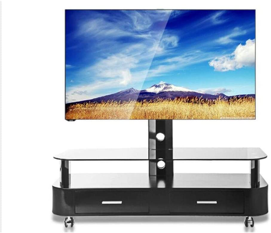 Soporte De TV, 32-65 Pulgadas Piso TV Stand TV Móvil Stand TV Carro Sala De Estar TV Gabinete De Vidrio Templado Estante Universal con Cajón: Amazon.es: Hogar