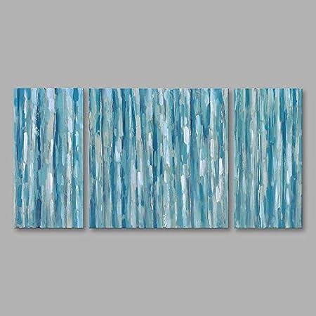 WJ-HOME Pintura al óleo Pintado a Mano - Abstracto Moderno Incluyen Lienzo Bastidor Interior,30cm*80cm*2+80 cm*90cm.