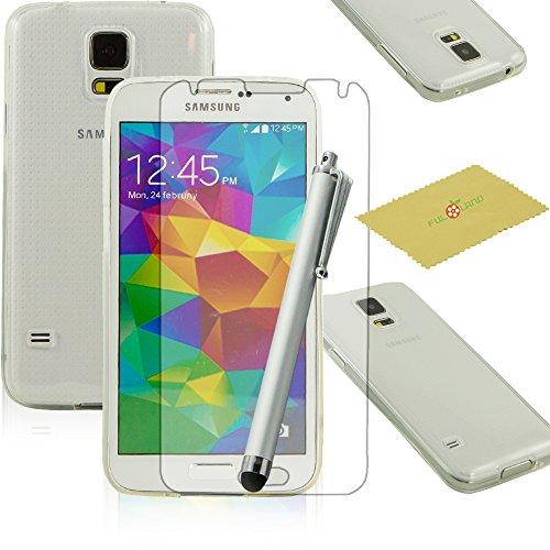 Fulland Premium Slim Fit Flexible TPU Gel Soft Skin Case Cover For Samsung Galaxy S5 V I9600 Plus Stylus Pen & Screen Protector-Clear White