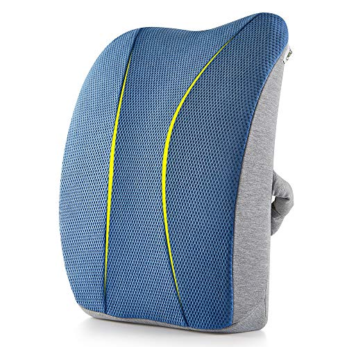 Jiaao Large Memory Foam Lumbar Support Pillow - Orthopedic Design for Relieves Lower Back Pain, Back Cushion for Office Chairs & Car, Breathable Cover, Adjustable Strap by Jiaao