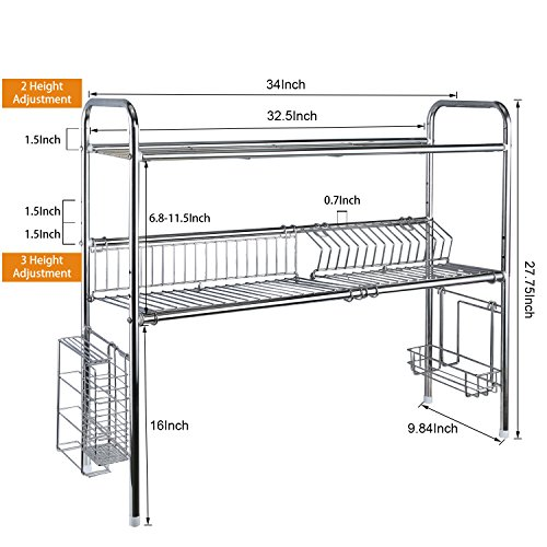 1208S 2-Tier Stainless Steel Dish Drying Holder Rack (Double Groove-Two-layer) by 1208S (Image #5)