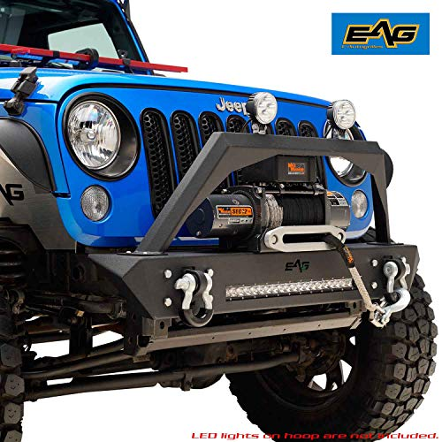 EAG Stubby Front Bumper with LED Light Bar and Winch Plate Fit for 07-18 Jeep Wrangler JK - Front Bumper Light Bar