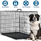Dog Crate for Dog Cage Kennel Large Medium Dogs 48 Inches Pet Playpen Folding Indoor Outdoor Double Door Travel Metal Dog Pen with Plastic Tray
