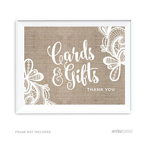 Andaz Press Burlap Lace Print Wedding Collection, Party Signs, Cards and Gifts Thank You, 8.5x11-inch, 1-Pack