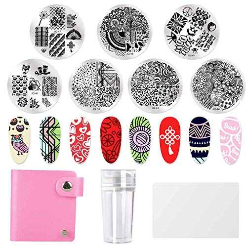(Azure Beauty 7pcs Nail Stamping Plates + 1 Stamper + 1 Scraper Lace Flowery Animal Flowery Heart Jungle Patten Nail Art Stamping Round Templates ...)
