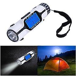 Outdoor Lantern - Portable Travel World Time Alarm Clock Electronic Calendar Multifunction LED Light Torch LCD Display