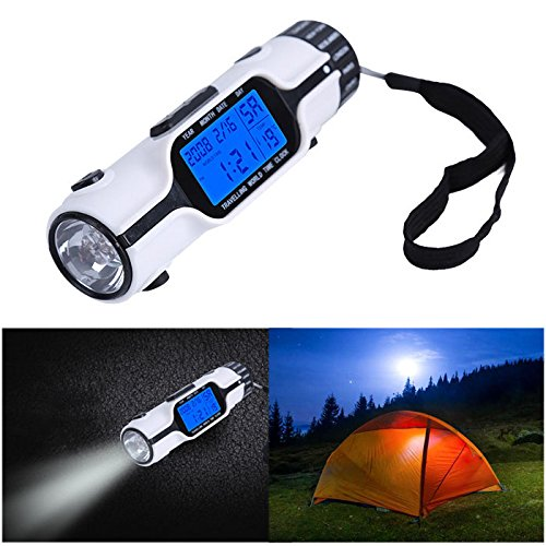 Flannel Mullein Clock Torch Outdoor Lantern - Portable Time Alarm Clock Electronic Calendar Multifunction Led Light Torch Lcd Display - Flashlight Woolly Great Blowlamp Blowtorch - (Lantern Moon Baskets)