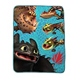 """How to Train Your Dragon Kids Bedding Ultra Soft Plush Throw 46"""" x 60"""" Blue"""