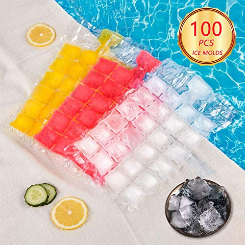Ice Cube Tray Easy Release,100 Pcs Ice Molds,2400 Ice Cubes,Food-Grade PE Material,Efficient Filling And Space-Saving,No Peculiar Smell Ice -