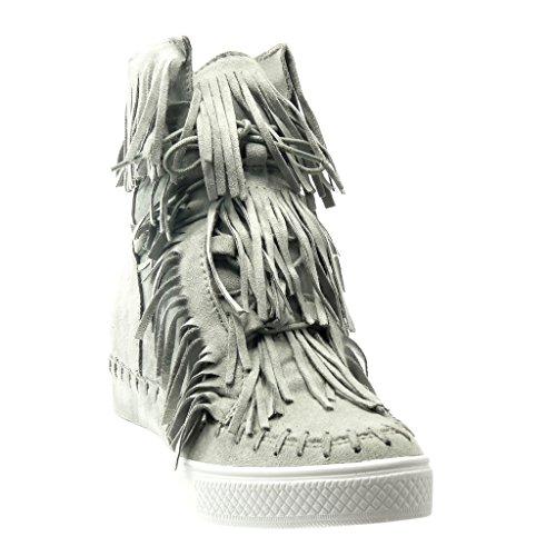 Angkorly - Scarpe da Moda Sneaker Zeppa donna frange pon pon Tacco zeppa piattaforma 8 CM - Grigio