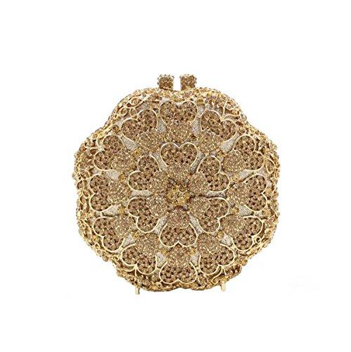 Sac Diamants De De Fleurs Main Soirée De De à Gold Sac Luxe Cristal Femmes vqUxAdv