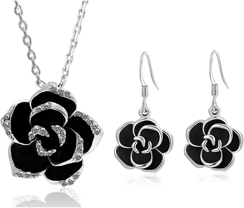 Emorias 1 Set Conjunto de Joyas Rosa Collar Aleación Mujer Pendientes Regalos de Joyería Accesorios - Negro
