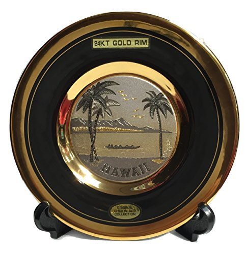 The Art of CHOKIN Fine Porcelain Collectible Plate 24KT Gold Rims (6.5 inches) - HAWAII Canoe w/Palm Tree & Diamond Head Design, Black Color ()