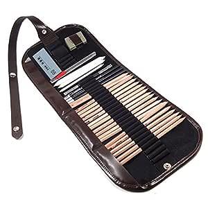 Arich 18pcs Lápices Sketch alargador lápiz borrador papel Pen Set de dibujo con bolsa para artista profesional