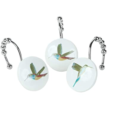 DS BATH Maria Shower Curtain Hooks,Flying Birds Bathroom Curtain Hooks,Decorative Hooks for Shower Curtains,Set of 12