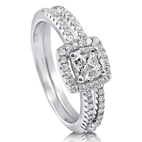 BERRICLE Rhodium Plated Sterling Silver Cushion Cut Cubic Zirconia CZ Halo Engagement Wedding Ring Set 0.89 CTW Size 5