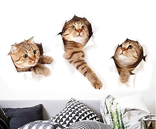 D Cat Wall Decals Stickers Vivid Decors Murals for Room Home Removable Wall Art Decals Wall for kids Rooms DIY Home Decoration ()