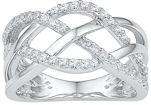 Pave Diamond Crossover (10kt White Gold Womens Round Diamond Woven Crossover Band Ring 1/3 Cttw (I2-I3 clarity; J-K color))