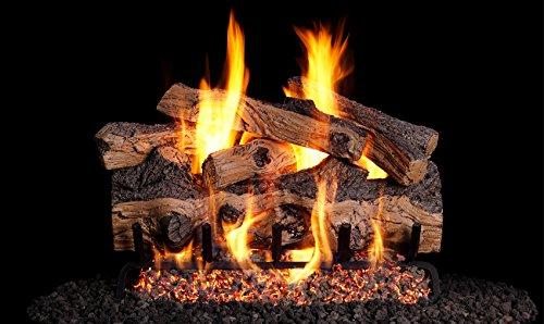 Peterson Real Fyre 30-inch Gnarled Split Oak Designer Log Set With Vented Natural Gas G45 Burner - Match Light ()