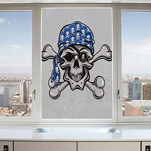 3D Decorative Privacy Window Films,Scallywag Pirate Dead Head Grunge Horror Icon Evil Sailor Crossed Bones Kerchief,No-Glue Self Static Cling Glass film for Home Bedroom Bathroom Kitchen Office 17.5x3 ()