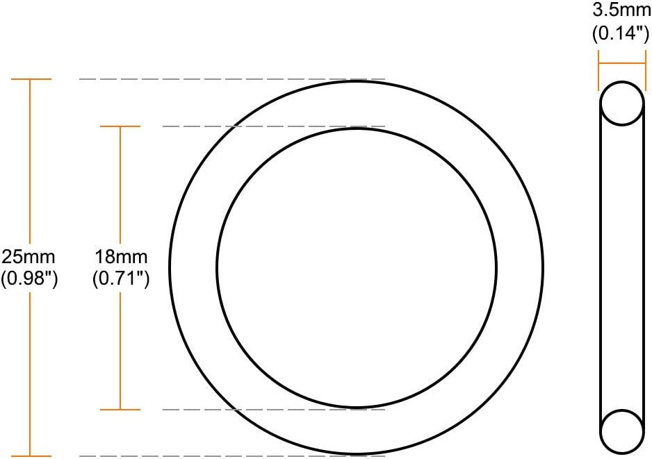sourcing map 5 St/ück Fluorkautschuk O-Ringe 3-18 mm Innendurchm 3,5mm Breit Dichtung gr/ün 18 mm x 25 mm x 3,5 mm